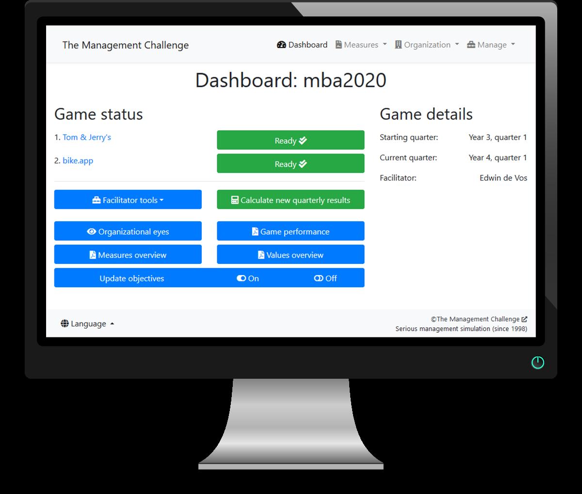 Begeleid zelf een managementsimulatie - Dashboard The Management Challenge